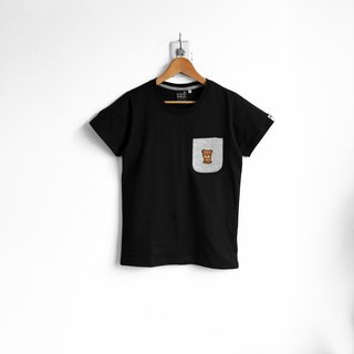 【BestFriend】Nice Bear Pocket T-Shirt / 03-BLACK