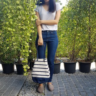 Navy Stripe Canvas Bucket Bag w/ Strap Leather Handles