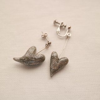 Baum heart pierced earrings silver