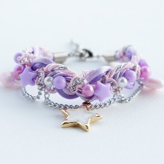 Lilac & pale pink braided bracelet with glittered white star and heart charm
