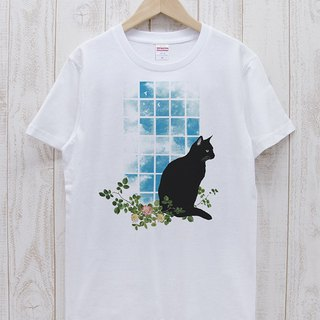 Standing black cat window window NOON (white) / RPT 034 - WH