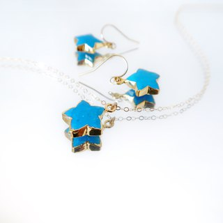 14KGF / TURQUOISE STAR NECKLACE & EARRINGS SET