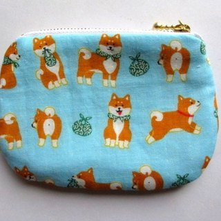 Copy Double Gauze Mini Pouch Shiba Inu Sky Color