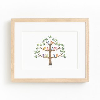 "Picturesque living. Framed Art Print ""A tree with colorful birds"" FAP-A 5208"