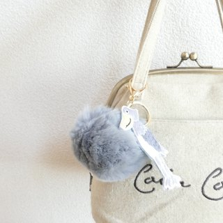 Fur Ponpon Bag Charm Gray Embroidery Eagle