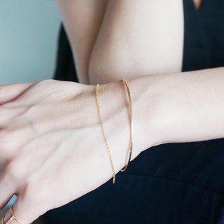 【14 KGF】 Hammered Open Chain Wire Bangle