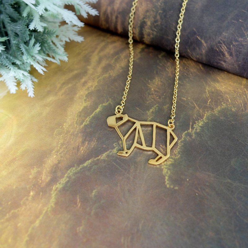 Capybara Necklace, Origami Animal Jewelry, Gold Plated, Best friend gift