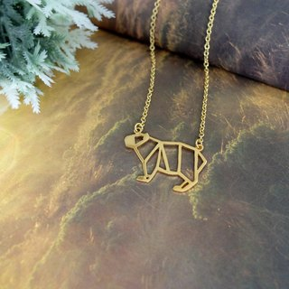 Capybara, Origami Necklace, Animal Necklace, Gold Plated Necklace, Birthday gifts