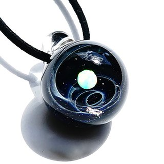Planet & meteorite world ver nebula white opal, v3 glass pendant with meteorite universe 【free shipping】