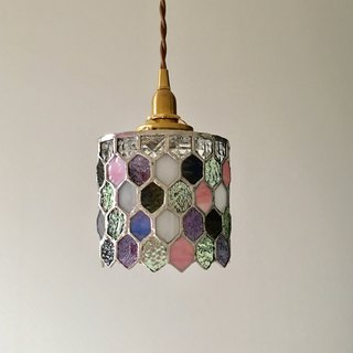 Pendant light Jewel Night Purple & Green Glass Bay View