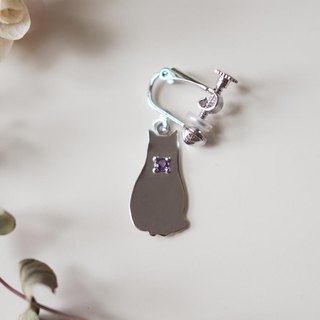 One-Eyed Cat Silhouette Earring (Egyptian Sitting Cat) Blue Moonstone, Blue Topaz, Amethyst, Peridot