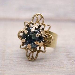 Starry heavens, Brass and glass, Diamond shape ring, Dark Blue