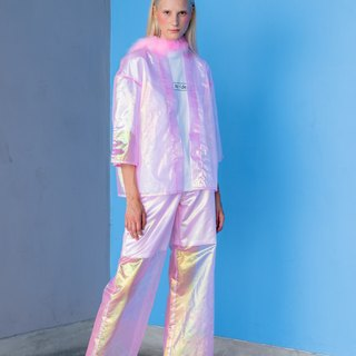 Coat and Pants Koe 'Pink Holographic Fabric Pink Polyester