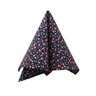 CAVEMAN Pocket Square - Navy Pink Blossom