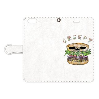 [Notebook type iPhone case] Creepy hamburger