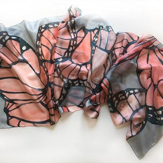 Hand painted silk scarf- Coral Butterfly/ Butterfly Wings scarf
