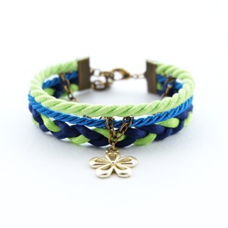 Flower layered rope bracelet in matte lime / vivid blue / navy blue