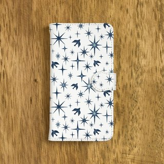 "Fragments of a picture book. Handbook type smart case ""Dark blue birds and stars"" TSC - 295"