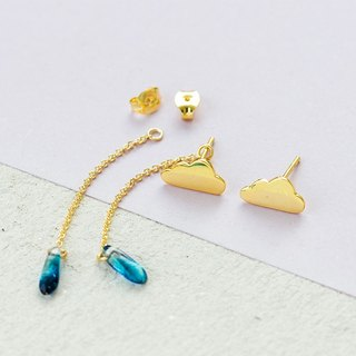 Raindrops Earrings in 925 Sterling Silver with Yellow Gold plating and Bead