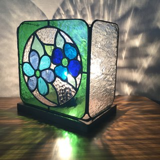 Stained glass lamp fleur nostalgique green