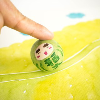 Green Good luck daruma - Healthy and fitness - Wooden roly poly doll - Cute gift.