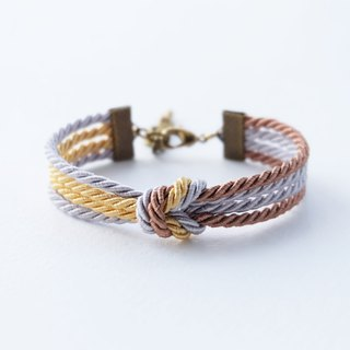 Tiny double tie the knot bracelet in gold / light gray / light brown