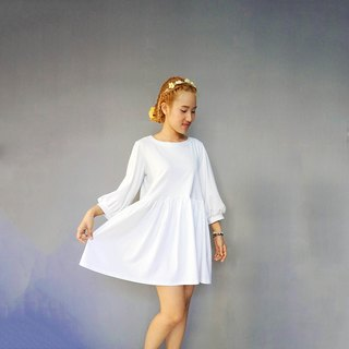 Long bishop sleeve cotton jersey knit smock dress, Babydoll dress, Loose style