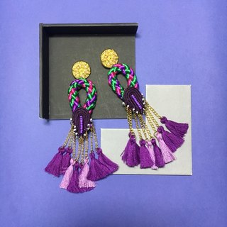 earrings : ring tassel purple