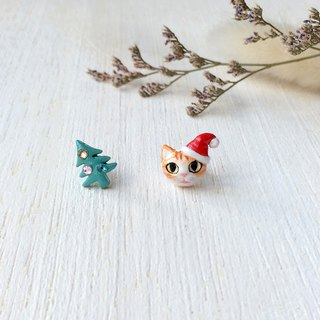 Santa cat & Christmas tree Earrings, Cat Stud Earrings, Christmas gifts