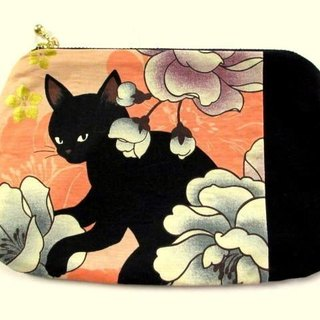 Black cat's Japanese pattern flat pouch * Orange C