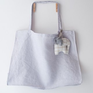 LINEN Tote in Taro and LINEN Elephant KeyCharm