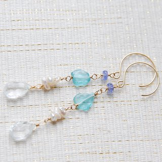Aquamarine and Blue Stone Earrings 14 kgf