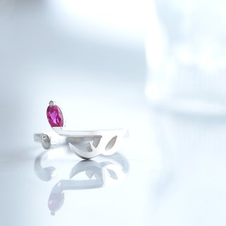 Ruby sixteenth note ring ring 925