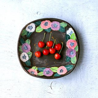 Crayon style style camellia dish dish