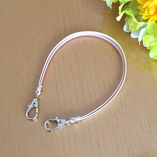 "Two-tone color Leather strap ( Pearl Pink and Ivory ) ""Clasps : Silver"""