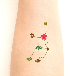 Virgo The Virgin (August 23 - September 22) Zodiac sticker tattoos. Japanese cute style.