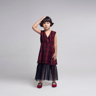 Mesh Skirt Tartan Check Dress