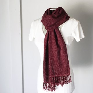 "Unisex hand-woven scarf ""Wine red with White dots Vol.2"""
