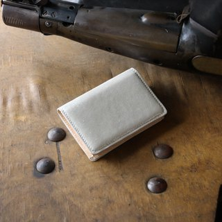 Japan manufactured cowhide name single canned name one case silver color made in JAPAN handmade leather card case