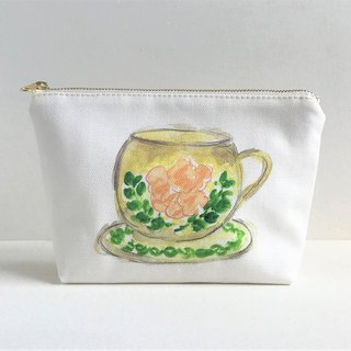 Gardener's Tea party gusseted pouch Cup and saucer pattern Orange