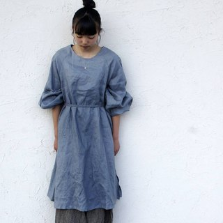 Linen 100% Volume Tack Sleeve One Piece Dress bluegray