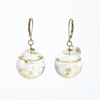 Glass dome french hook pierced earrings