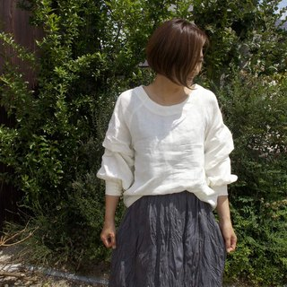 Linen 100% Volume Tack Sleeve Blouse ivory