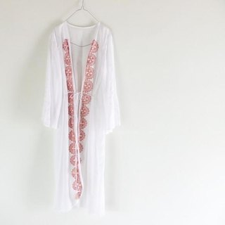 Pin tuck sleeve and hand print cotton long cardigan 【2】