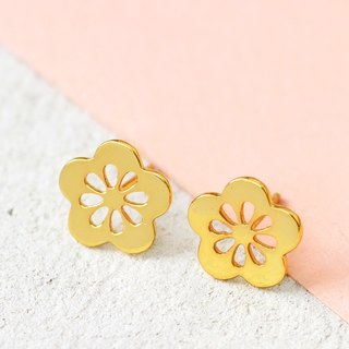 Sakura Earrings in Brass with 14k Yellow Gold Plating