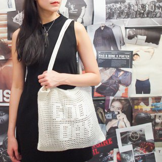 "Crochet Quote Tote Bag | ""Good day"" in Cool White"