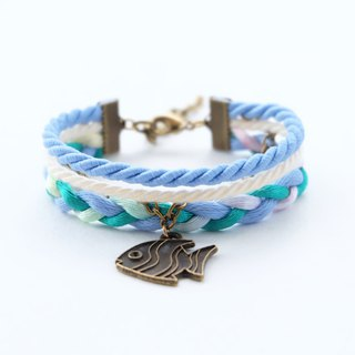 Fish layered rope bracelet in matte cornflower blue / cream / light mint / ombre