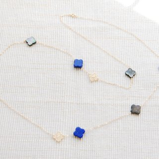 Flower lace and shell long necklace Lapis lazuli 14 kgf