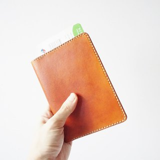 Tan Leather Passport Cover/ Sleeve with Credit Card & boarding pass pocket