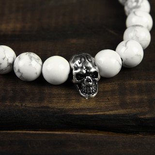 【METALIZE】Skulls 8MM Beaded Bracelet 骷髅8MM串珠手链-白松石/古银